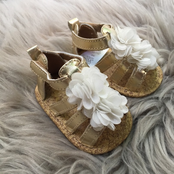 8a50599213476 Carter's Baby Girl Gold Sandals Newborn